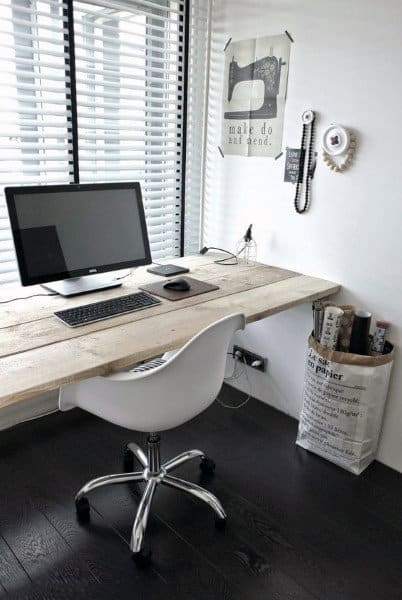 Simple Wood Floating Desk Mens Small Home Office Ideas