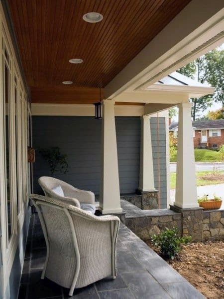 Simple Wood Porch Ceiling Ideas With Recessed Can Lighting