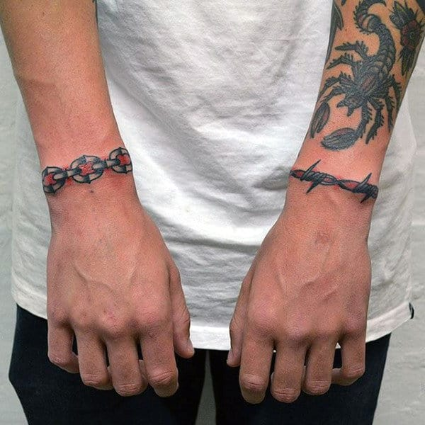 Simple Wrist Barbed Wire Armband Tattoos For Guys