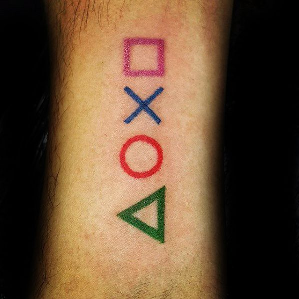 Simple Wrist Controller Buttons Male Playstation Tattoo Designs