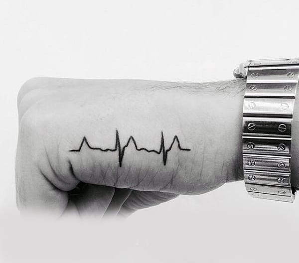 Simply Tiny Heartbeat Tattoo Male Hands