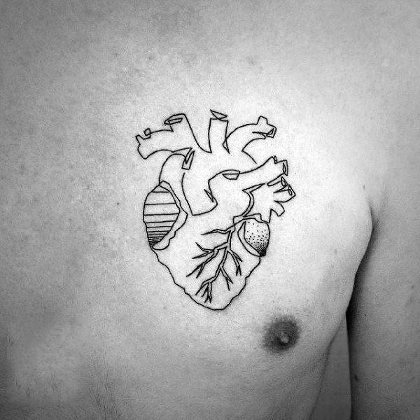 Single Heart Guys Tattoos Line