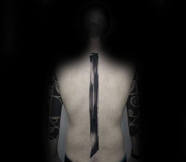 Single Line Brush Stroke Mens Spine Tattoo Ideas