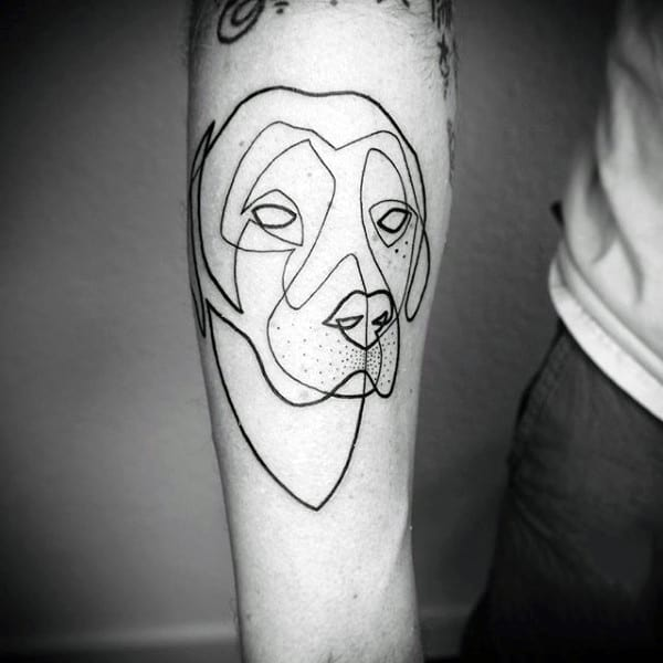 Single Line Tattoo Of Dog For Men On Forearm