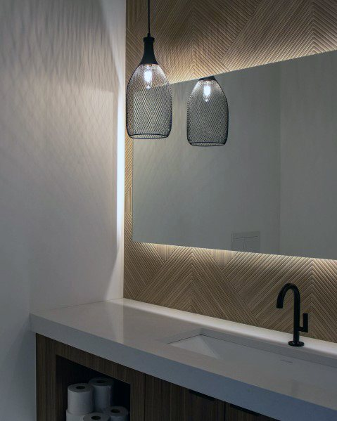 Single Metal Mesh Pendant Home Bathroom Lighting Ideas
