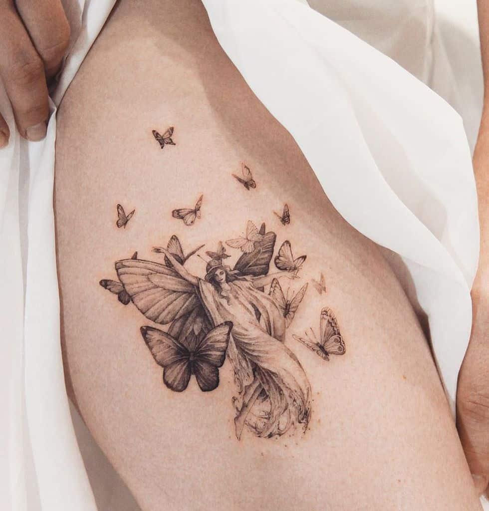 Single Needle Butterfly Fine Line Tattoo