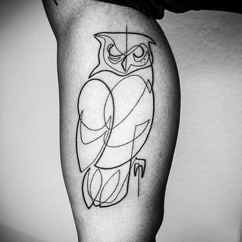 Single Owl Fine Line Tattooing For Guys