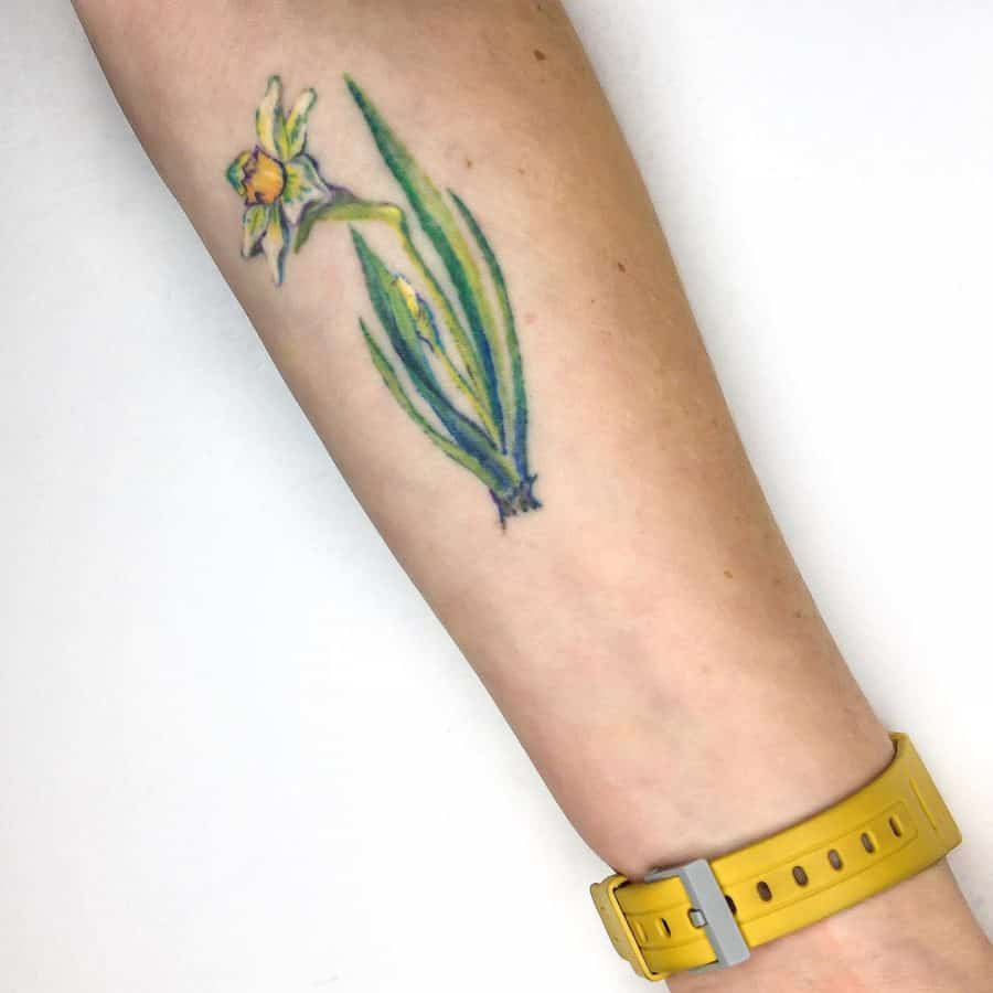 Single Plant Multiple Greens White Ink Flowers Daffodil Tattoo