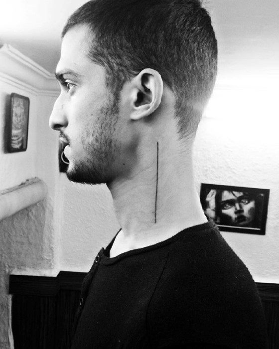 Single Simple Line Mens Neck Artistic Tattoo