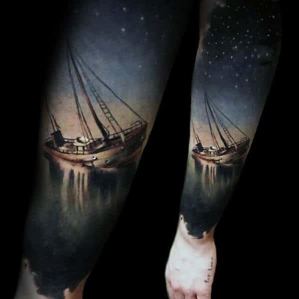 Sinking Ship Under Stars In Sky Hyper Realistic Mens Forearm Tattoo