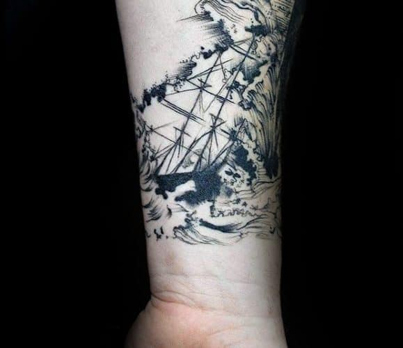 Sinking Ship Unique Forearm Mens Tattoos