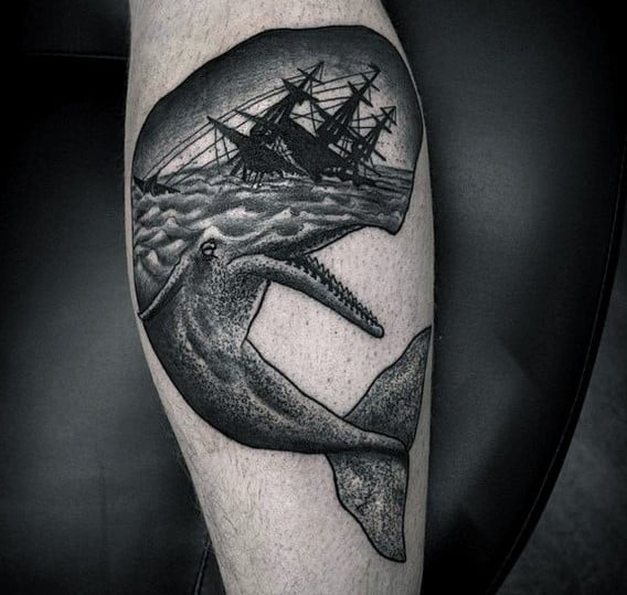Sinking Ship Whale Mens Inner Forearm Tatos