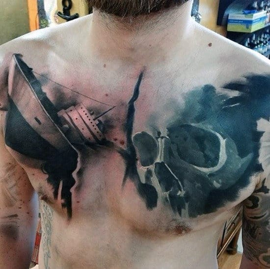 Sinking Ship With Skull Guys Upper Chest Watercolor Tattoos