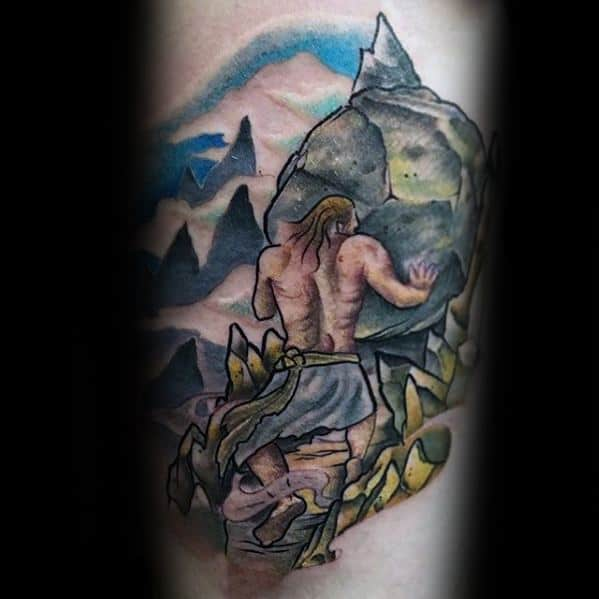 Sisyphus Mens Tattoo Designs On Arm