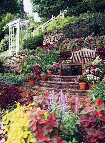 Sitting Area Slope Landscaping Exterior Design