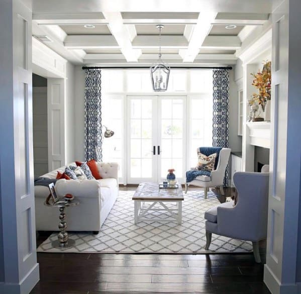 Sitting Room White Designs Coffered Ceiling