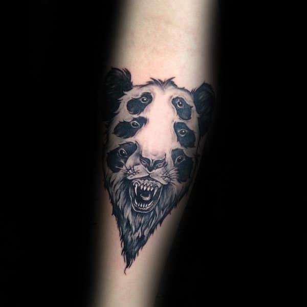 Six Eyed Panda Bear Mens Forearm Tattoo