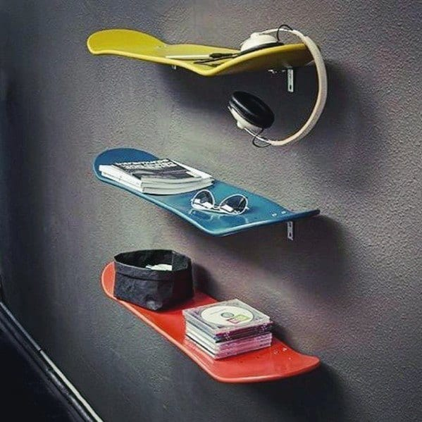 Skateboard Diy Man Cave Shelf Ideas