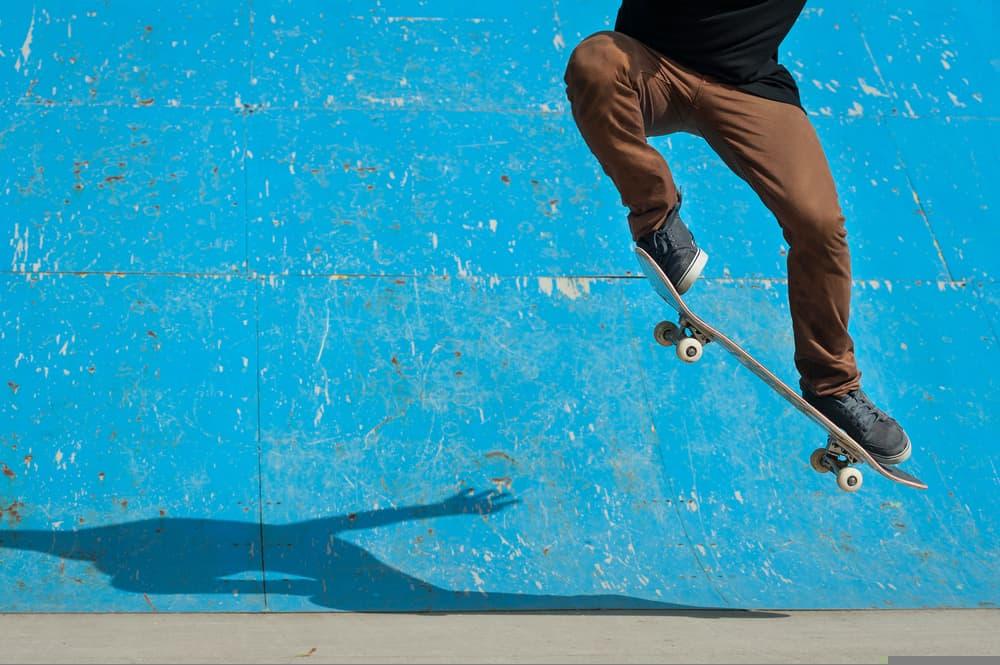 Skateboarder doing skateboard trick