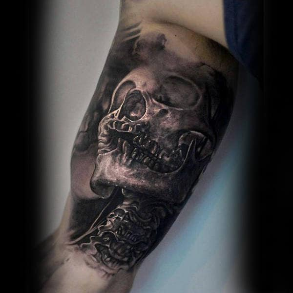 Skeleton 3d Inner Arm Male Tattoos