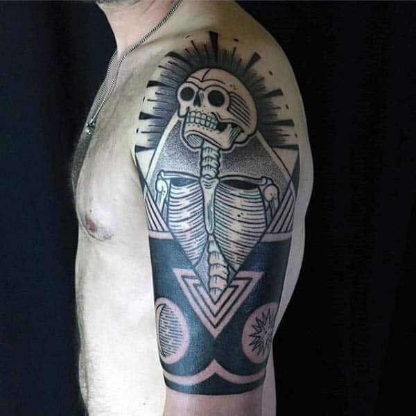 Skeleton Abstract Woodcut Half Sleeve Guys Tattoos