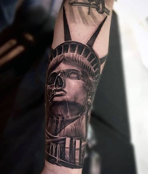 Skeleton And Bridge Statue Of Liberty Tattoo Design Ideas For Guys