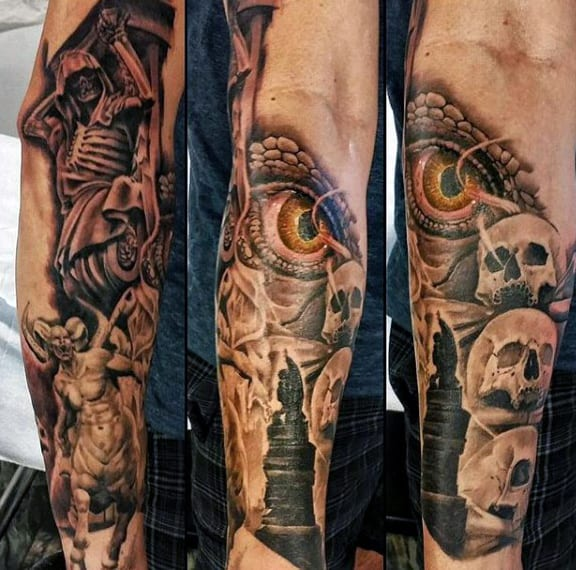 Skeleton Arm Tattoo For Men