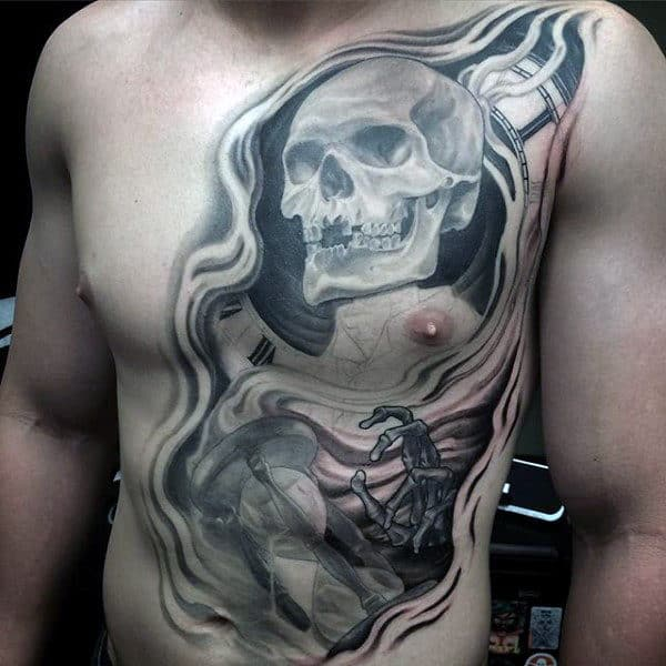 Skeleton Back Tattoo For Males On Chest