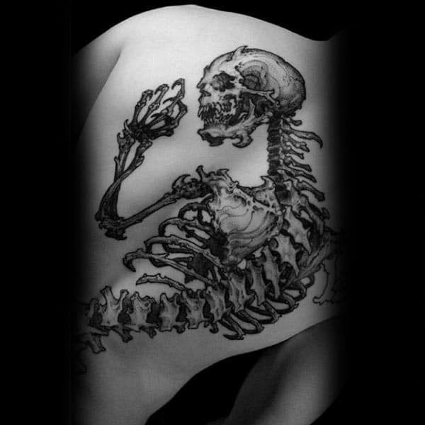 Skeleton Bones Mens Full Back Tattoo