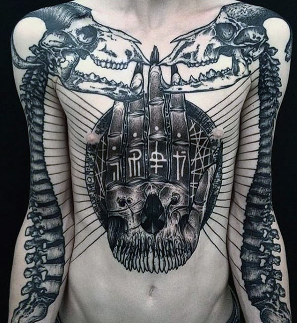 Skeleton Bones Mens Skull Hand Chest Tattoos