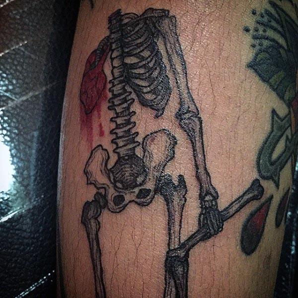 Skeleton Bones Mens Small Tattoo Ideas On Leg