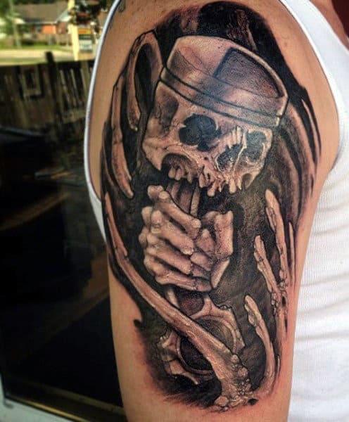 Skeleton Bones Motor Tattoo With Piston For Men