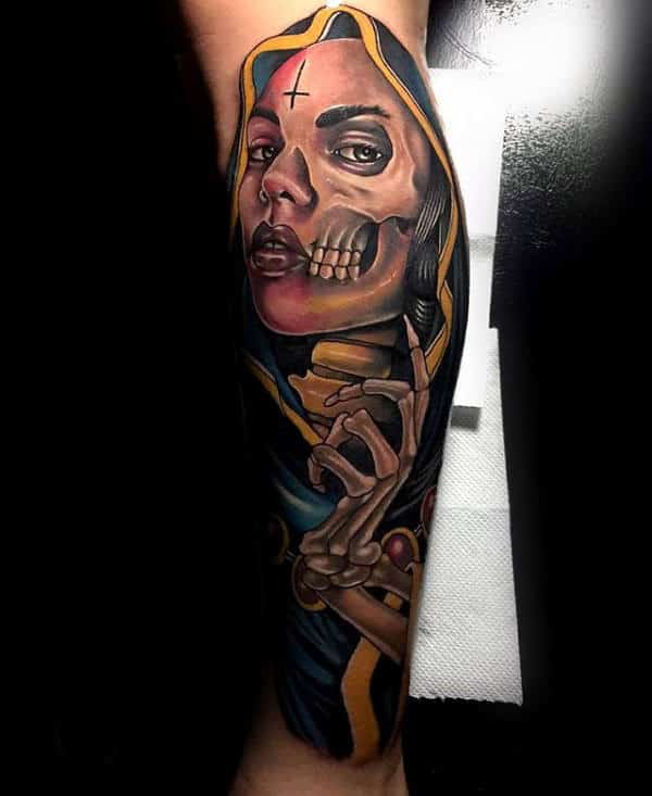 Skeleton Bones Virgin Mary Guys Leg Tattoo Design Ideas