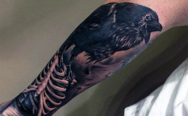 Skeleton Bones With Crow Forearm Guys Tattoos