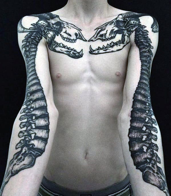 Skeleton Bones With Skull Guys Cool Arm And Chest Tattoos