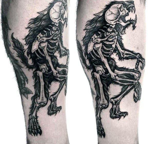 Skeleton Bones Wolverine Mens Leg Tattoos