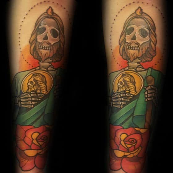 Skeleton Creative Mens St Jude Tattoo With Rose Flwoer Design