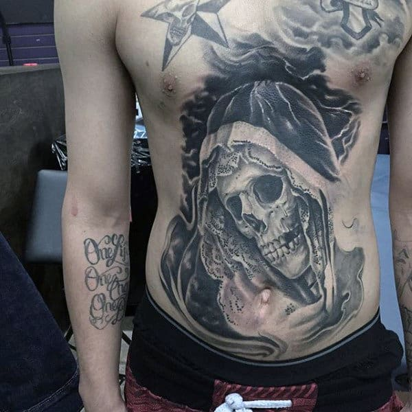 Skeleton Detailed Mens Stomach Tattoos