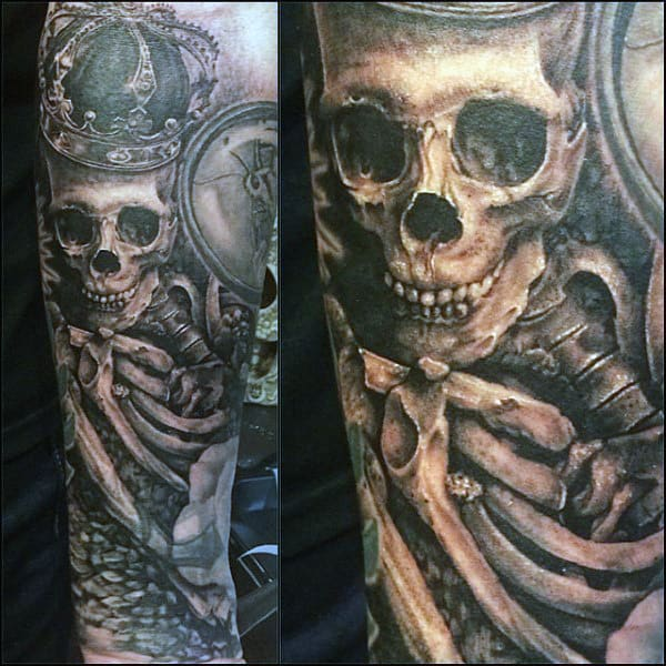 Skeleton Face Tattoo For Men
