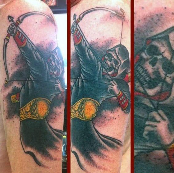 Skeleton Figure Mens Archer Sagittarius Tattoo On Arm