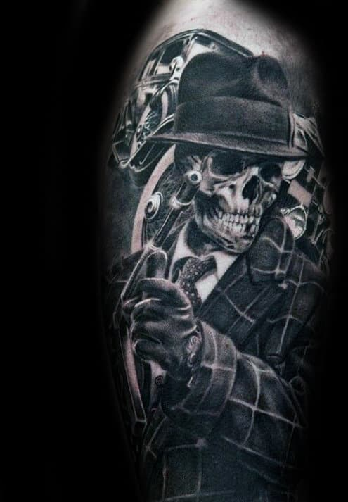 Skeleton Gangster Mens Black And Grey Shaded Thigh Tattoos