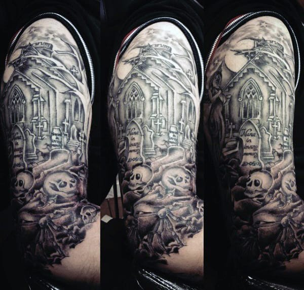 Skeleton Graveyard Tattoo For Men