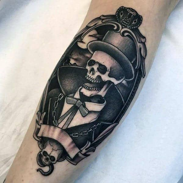 Skeleton Grim Repear Cobra Mens Orante Snake Tattoo On Arm