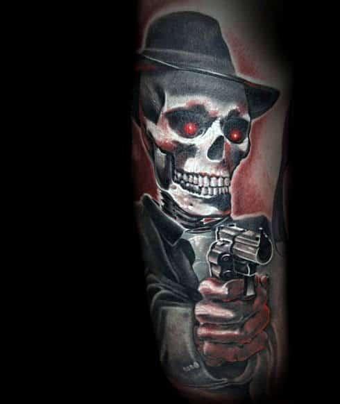 Skeleton Guy's Gun Tattoo