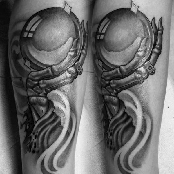 Skeleton Hand Holding Crystal Ball Guys Forearm Tattoos