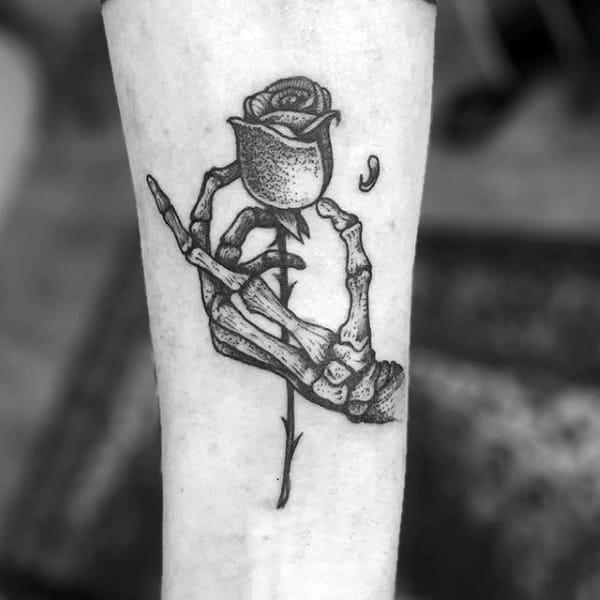 Skeleton Hand Holding Rose Flower Mens Dotwork Small Simple Forearm Tattoos