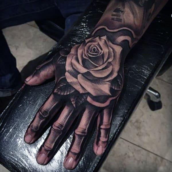 Skeleton Hand Mens Rose Flower Tattoo Designs