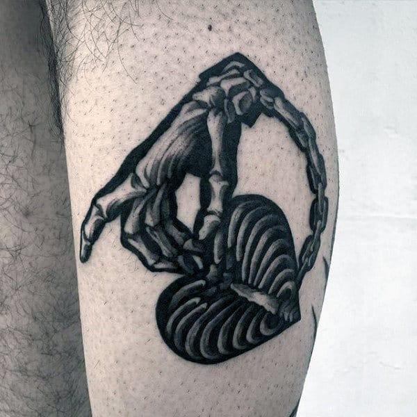 Skeleton Hand With Heart Mens Leg Tattoo