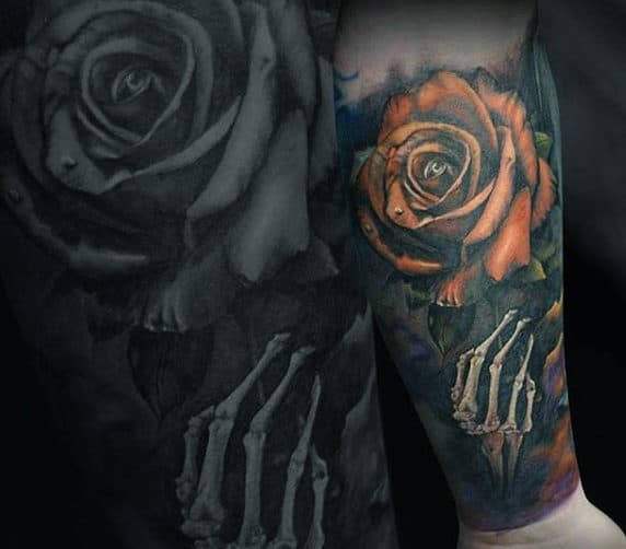 Skeleton Hand With Orange Rose Flower Guys Forearm Sleeve Tattoos