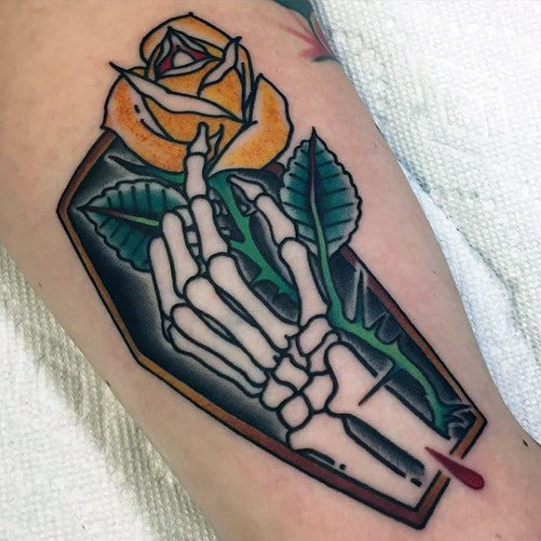 Skeleton Hand With Yellow Rose Mens Coffin Tattoo